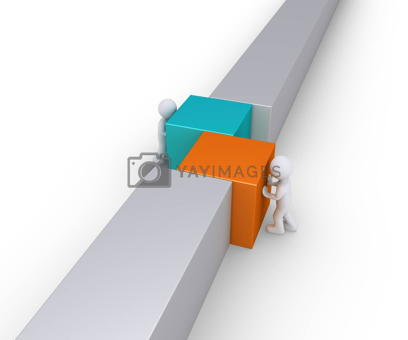 Two people are pushing different square blocks in order for the wall to be complete