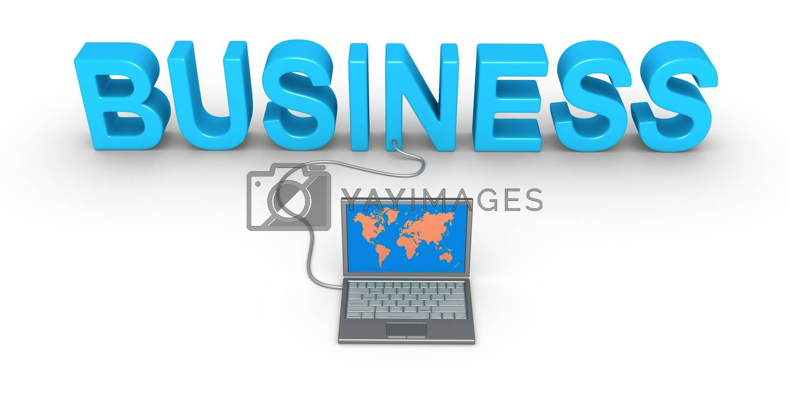 Business word and a laptop is connected to it
