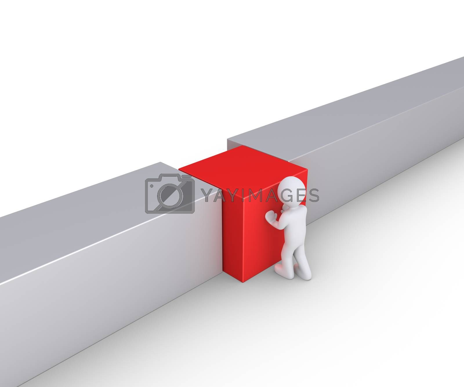 Person is putting a square block to connect the wall