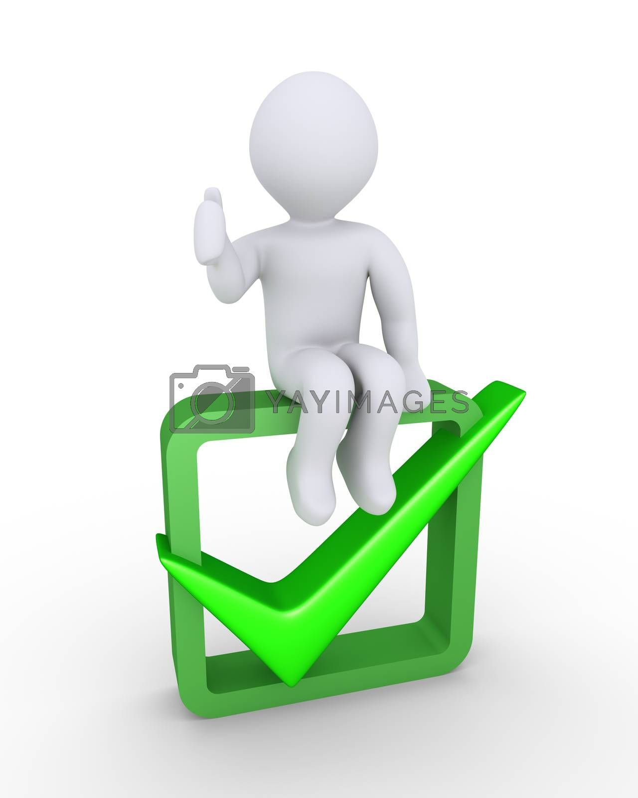 Person with his thumb pointing up is sitting on a box with the check mark symbol