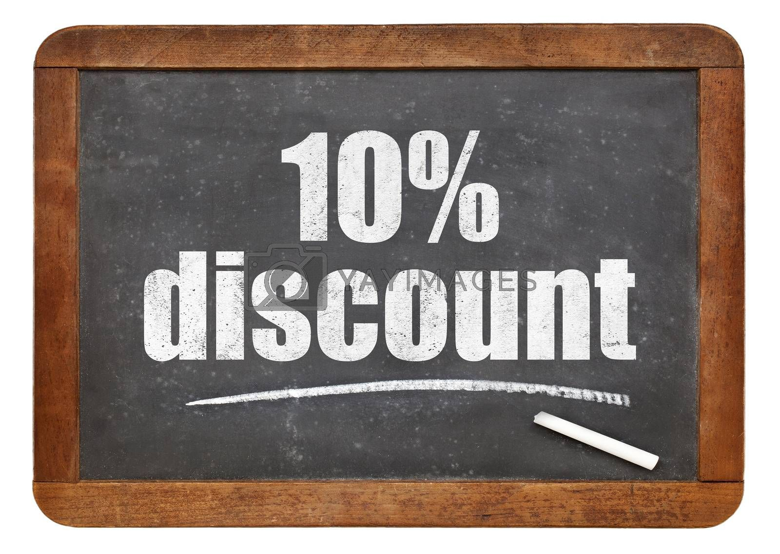 ten percent discount sign - white chalk text on an isolated  vintage slate blackboard