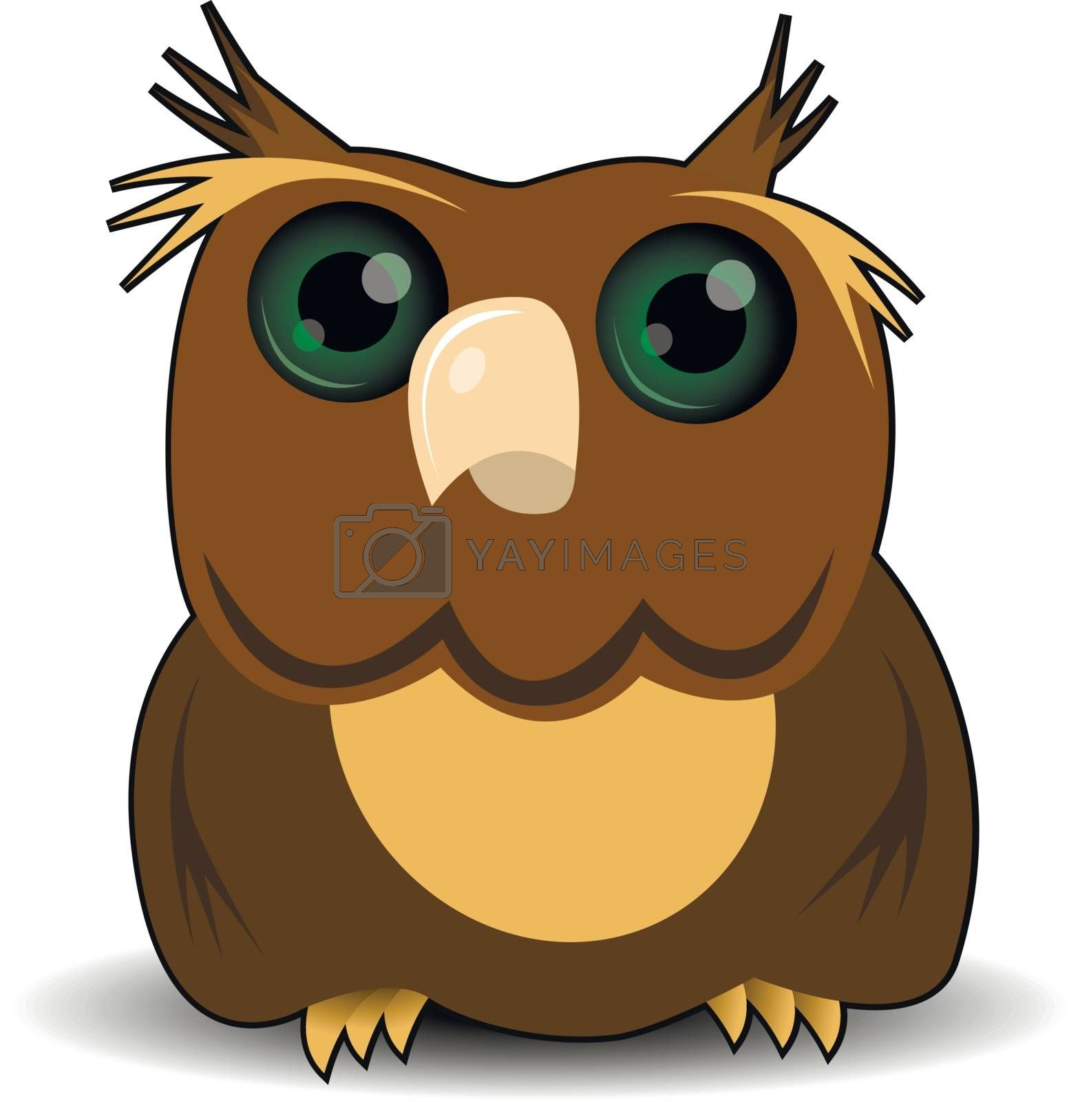 illustration goggle-eyed wise owl with green eyes