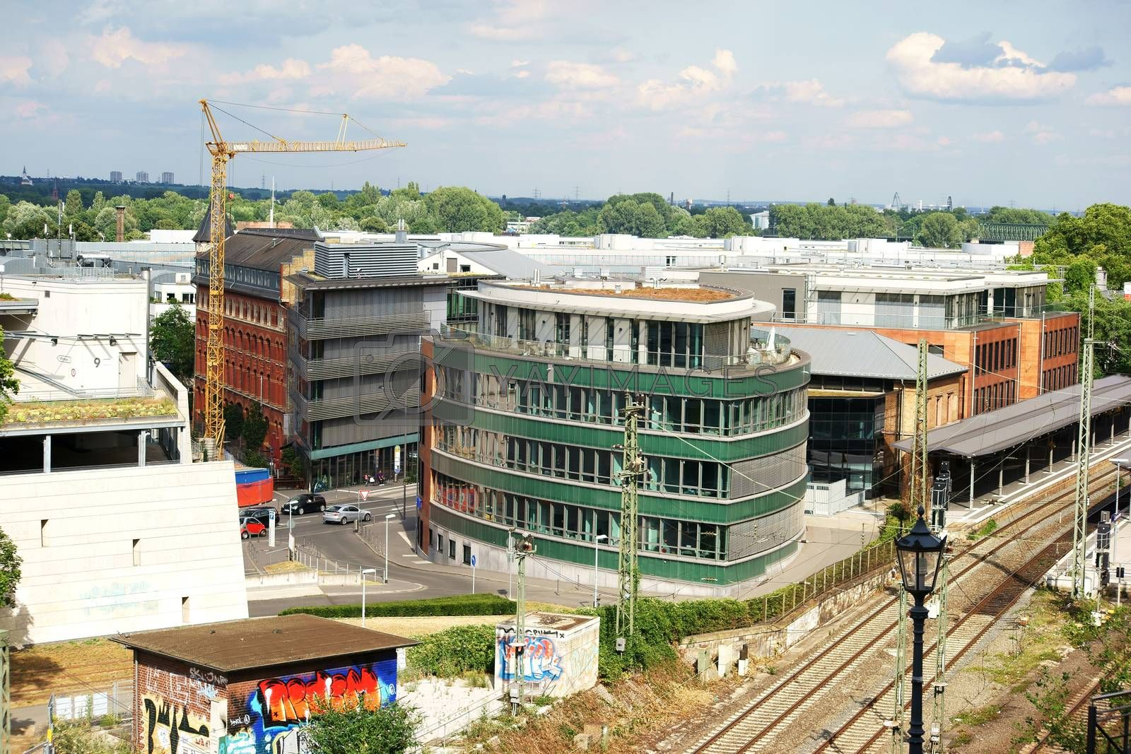 A view over the city of Mainz on the Roman Theatre station in Mainz.