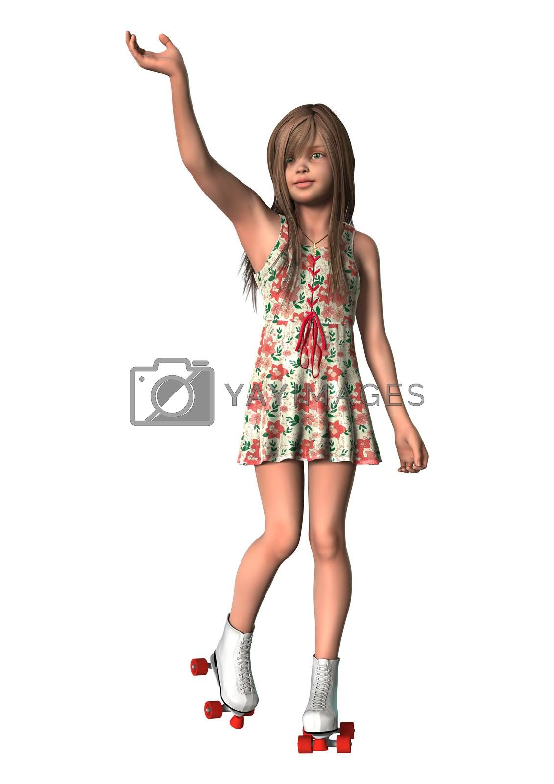 3D digital render of a cute girl on inline skates isolated on white background