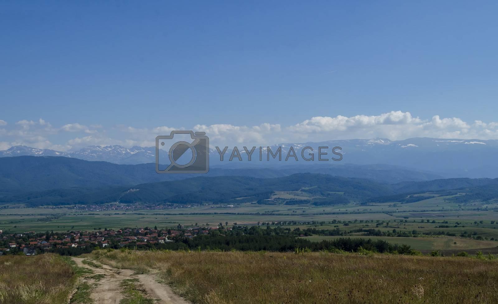 Landscape  of mountain Plana and beautiful village Alino, Bulgaria