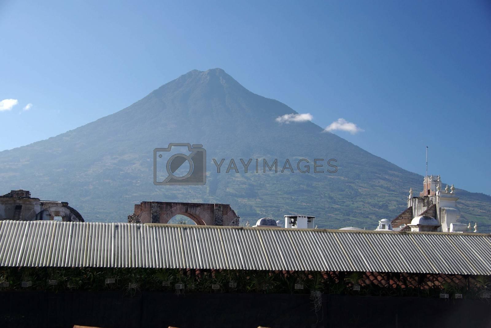 Volcano in the city of Antigua in Guatemala, Central America