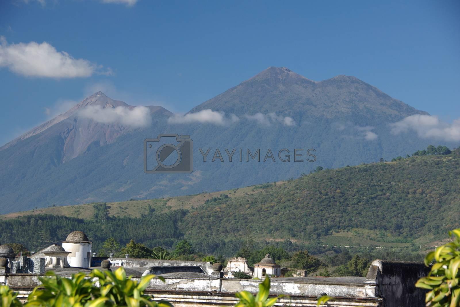 Volcanoes in the city of Antigua in Guatemala, Central America