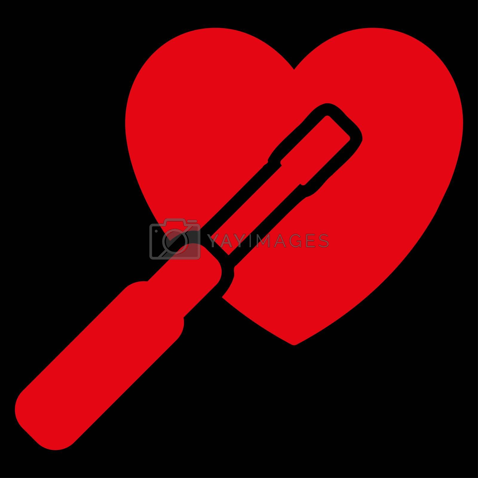 Heart Tuning raster icon. Style is flat symbol, red color, rounded angles, black background.