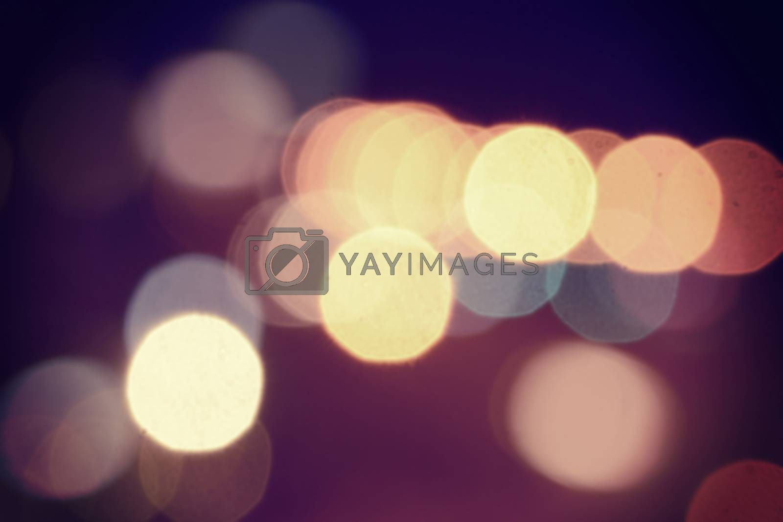 Blur bokeh lights with vintage retro style effect background.