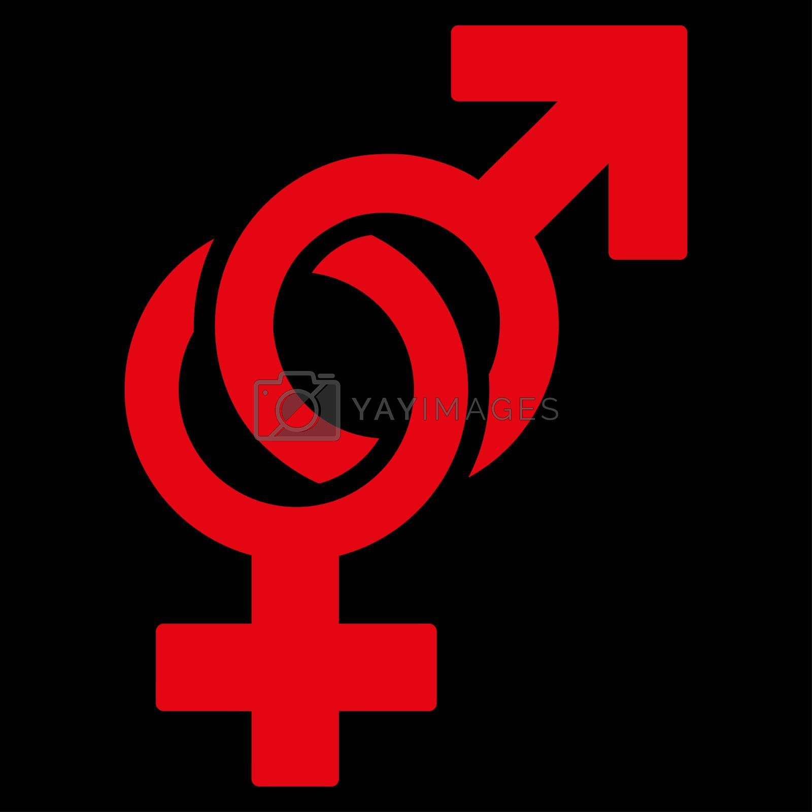 Sexual Symbols raster icon. Style is flat symbol, red color, rounded angles, black background.