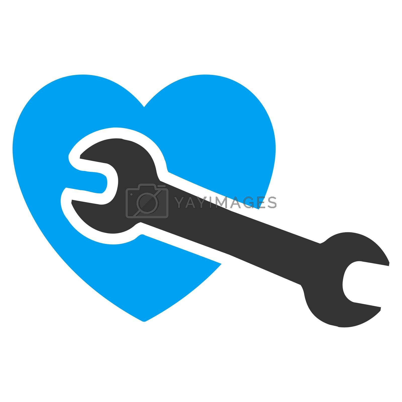 Heart Surgery raster icon. Style is bicolor flat symbol, blue and gray colors, rounded angles, white background.