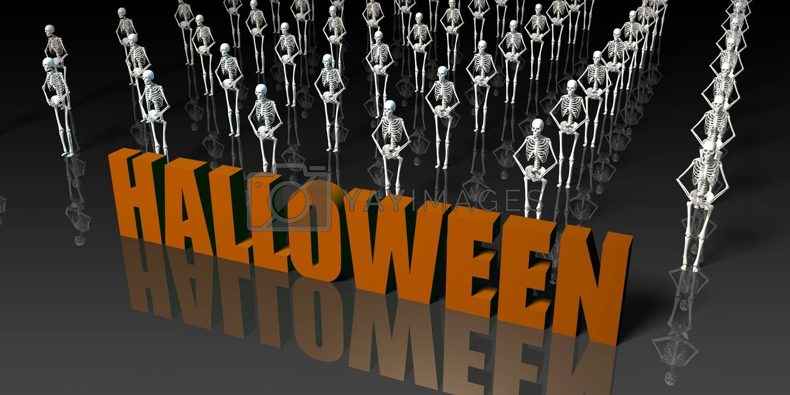 Halloween Celebration with Skeletons Dancing as a Holiday Abstract