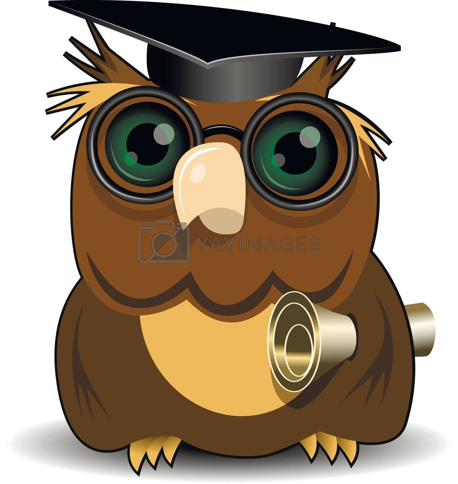 Illustration Owl scientist with green eye on white background