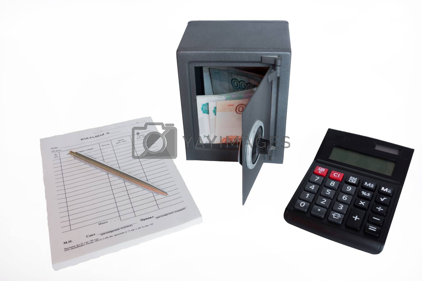 The photo depicts a safe with money and documents.