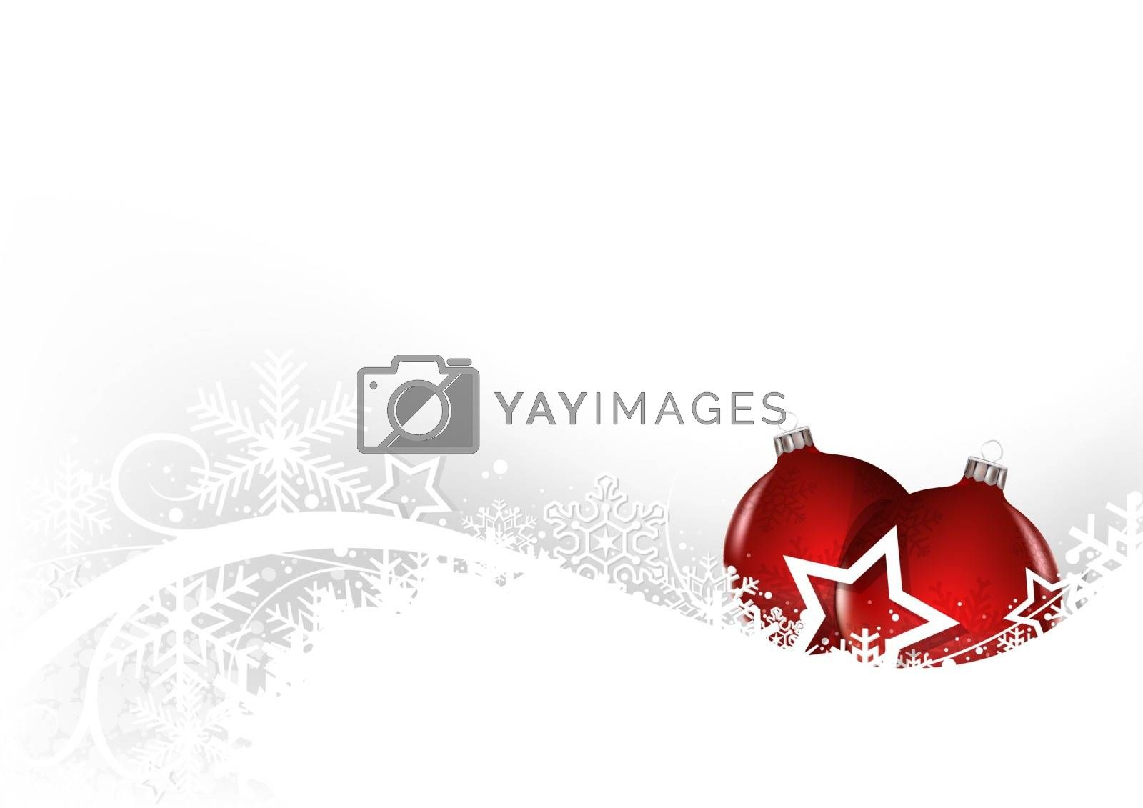 White Christmas Greeting Card with Baubles and Snow Floral - Illustration, Vector