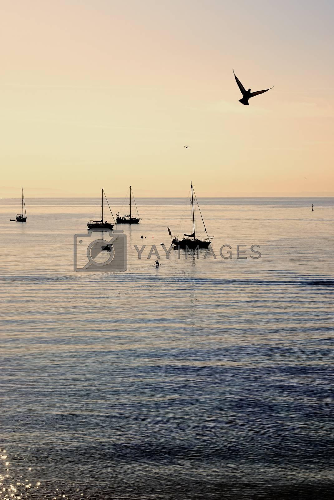 Sailboat against a beautiful sunset