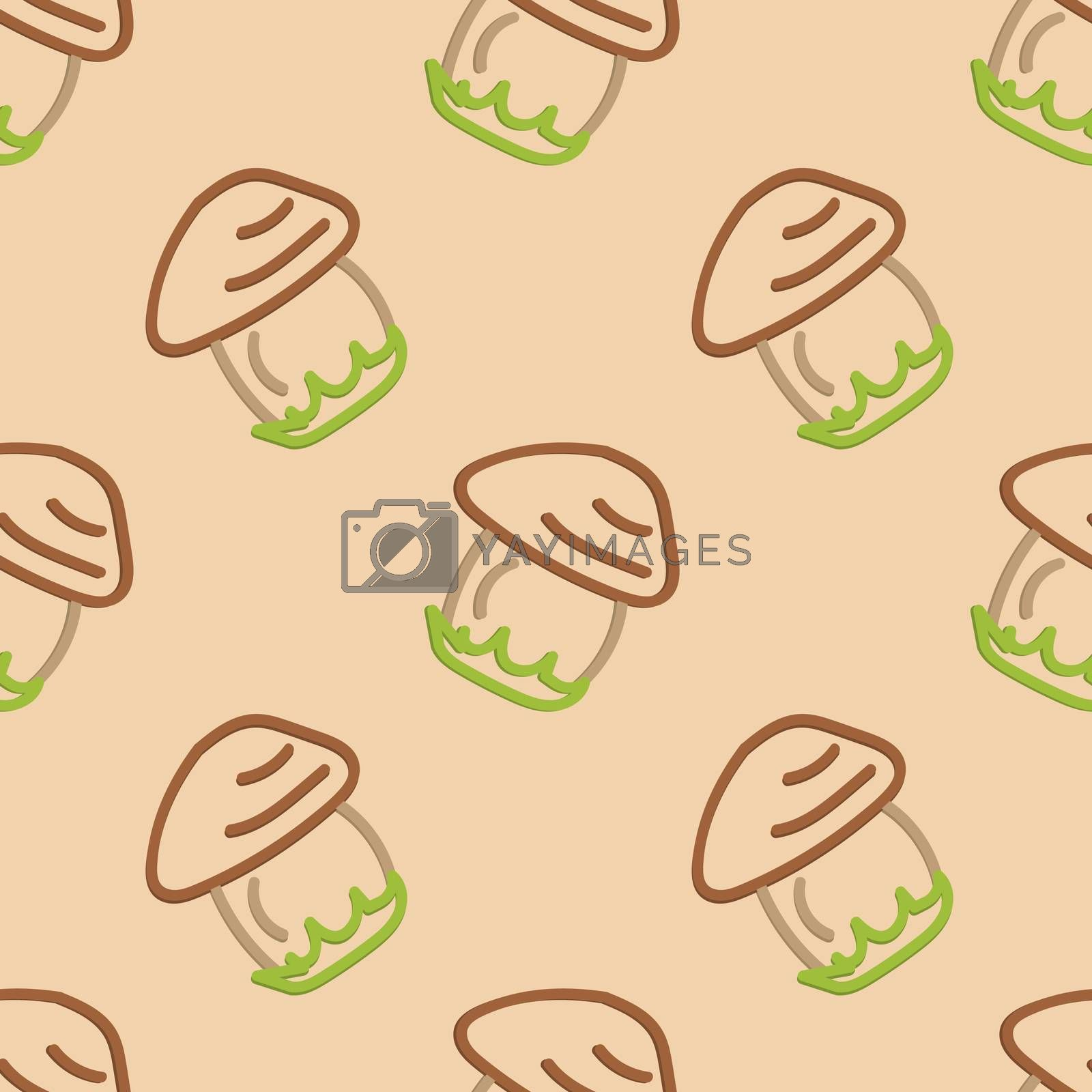 Mushroom Seamless Pattern Kid's Style Hand Drawn Rastr