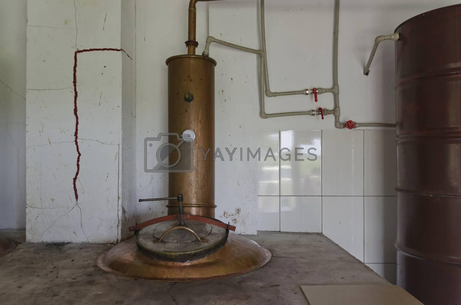 Fragment of copper boiler in distillery for vapor and distill grapes brandy, Bulgaria