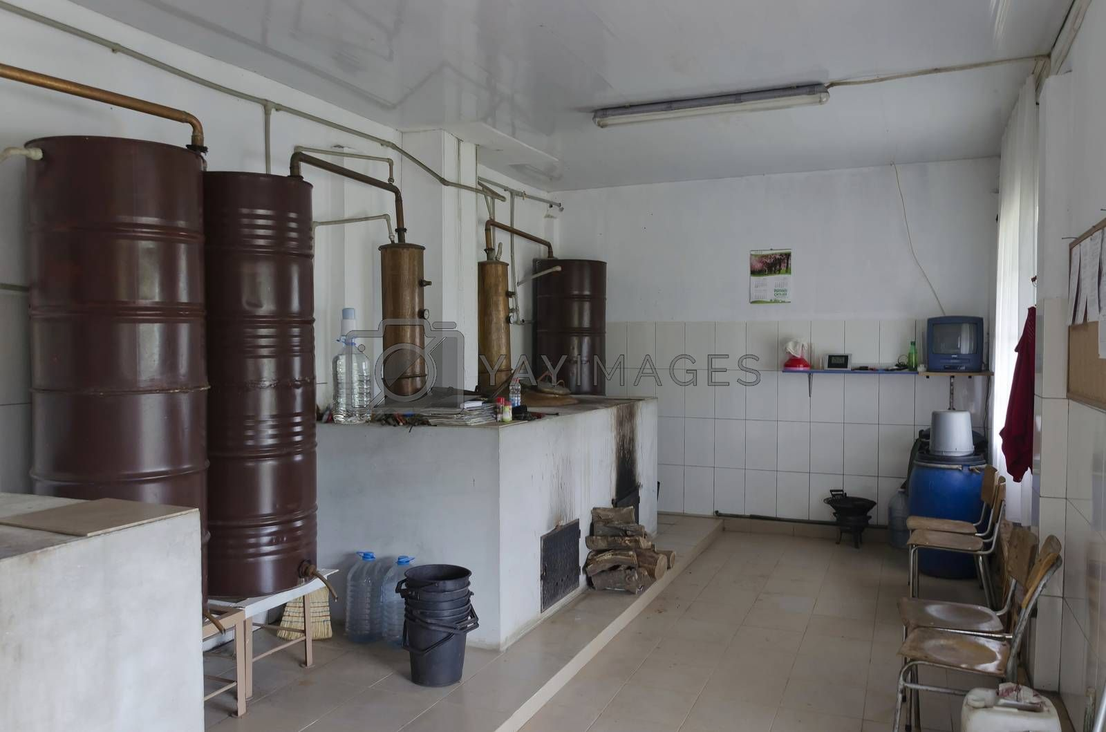 Fragment of place in distillery for vapor and distill grapes brandy, Bulgaria