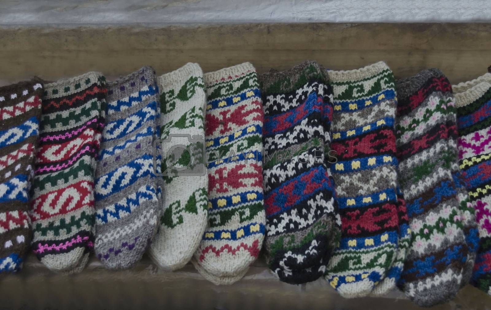 Traditional bulgarian colourful wool stocking knitted by hand  knitted by hand