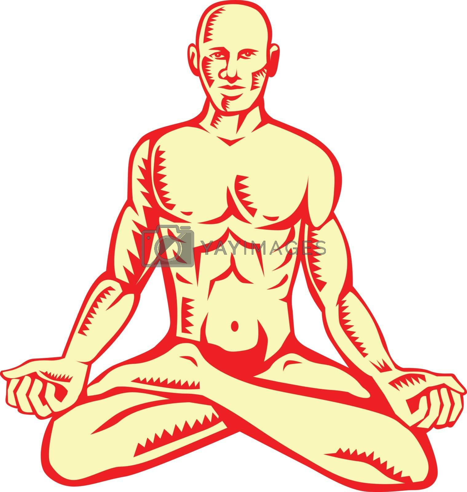 Illustration of a man medidating in lotus position cross-legged sitting asana in which the feet are placed on the opposing thighs viewed from front set on isolated white background done in retro woodcut style.