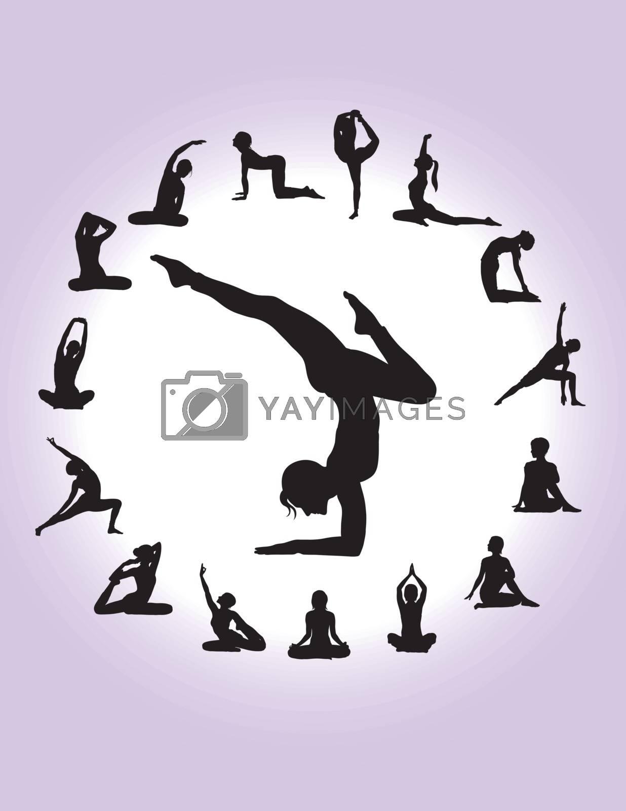 Yoga Silhouettes, art vector design