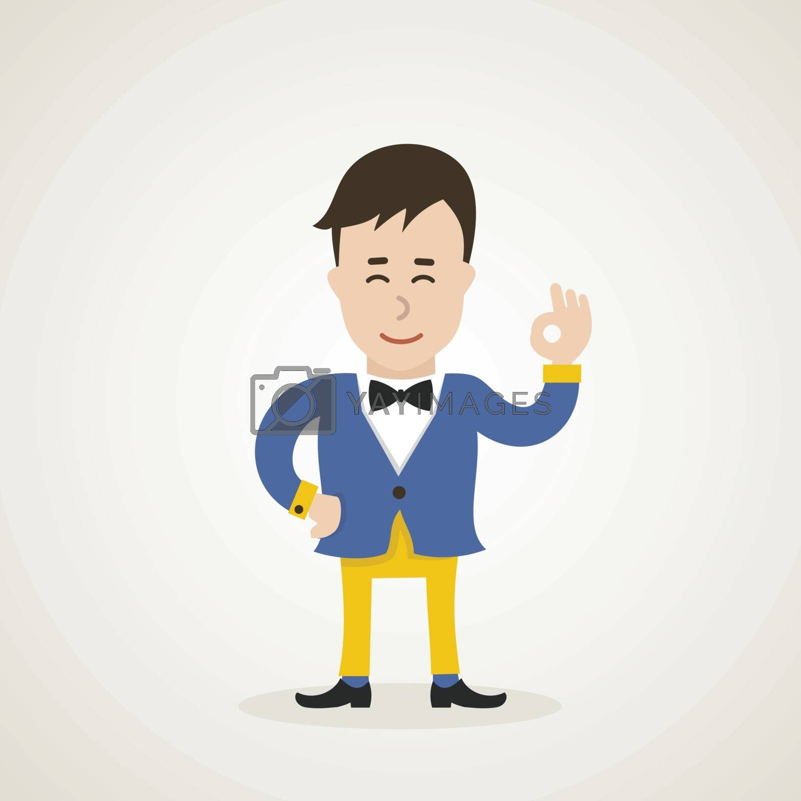 The guy shows gesture ok. Vector illustration