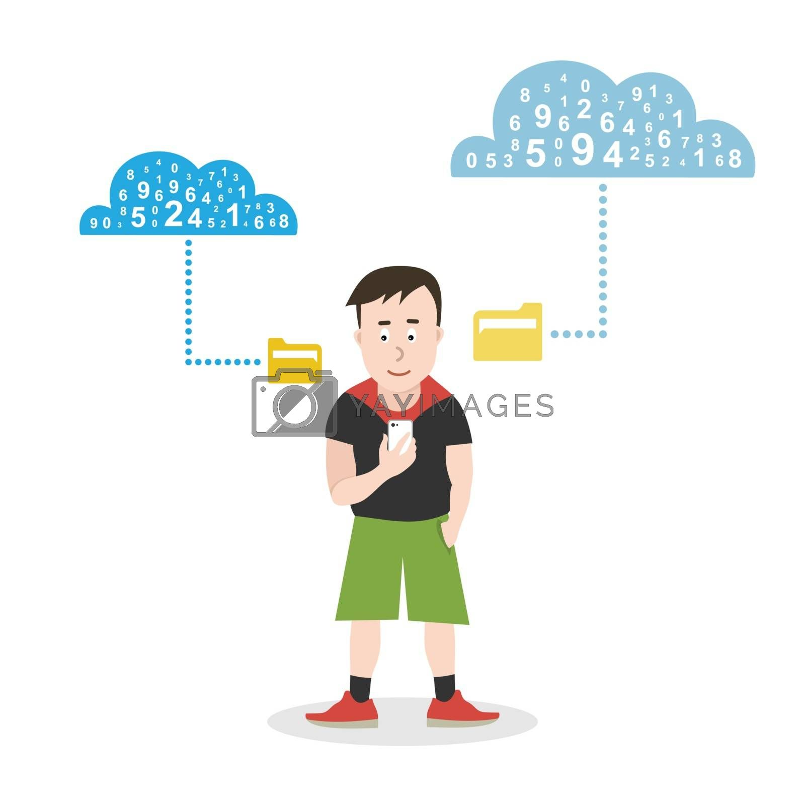 The teenager keeps the phone in his hand. Vector illustration