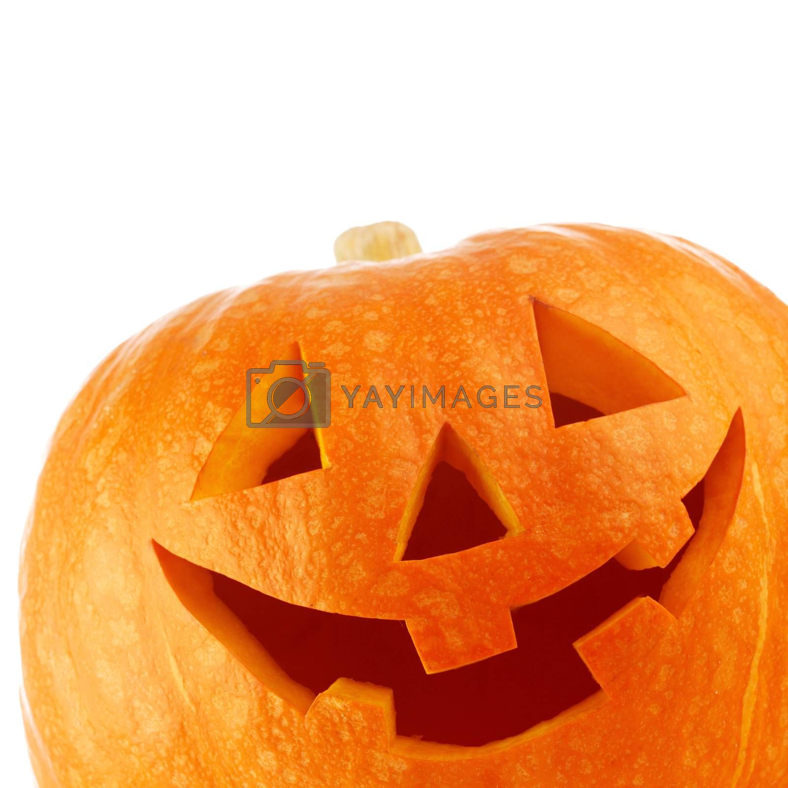 Funny Halloween Jack O' Lantern carved pumpkin isolated on white background