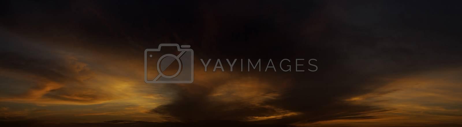 Cloudy sky with sunset light panorama view