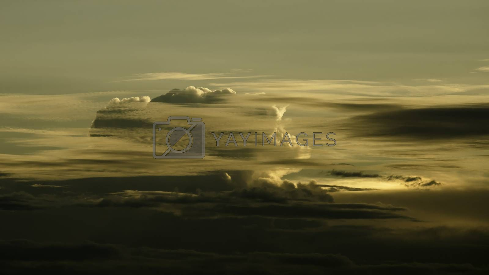 Nice cloud with sunset light in sky background