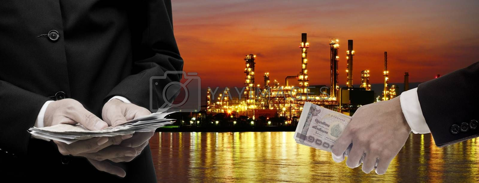 Make money from oil refinery business concept