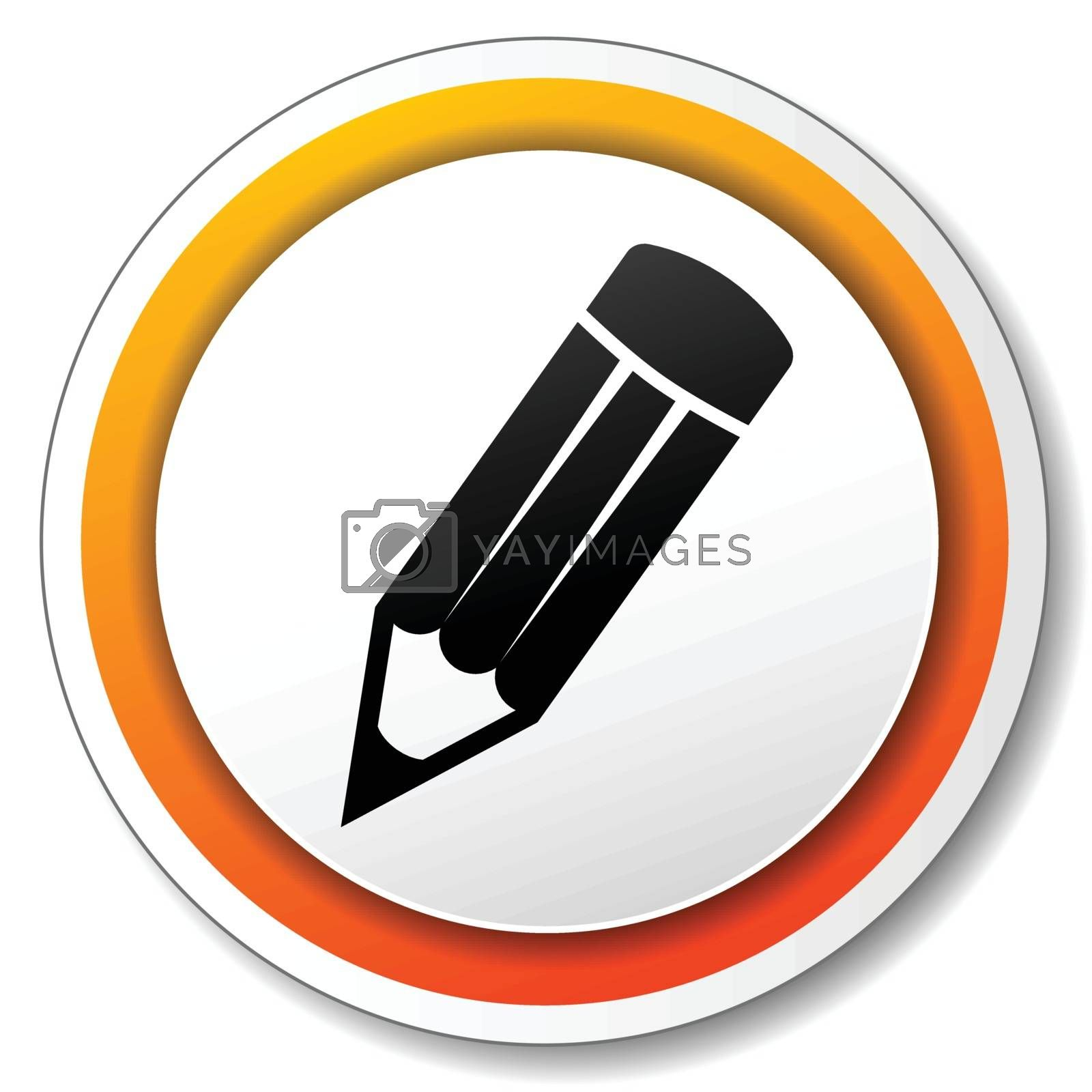 illustration of orange and white icon for pencil