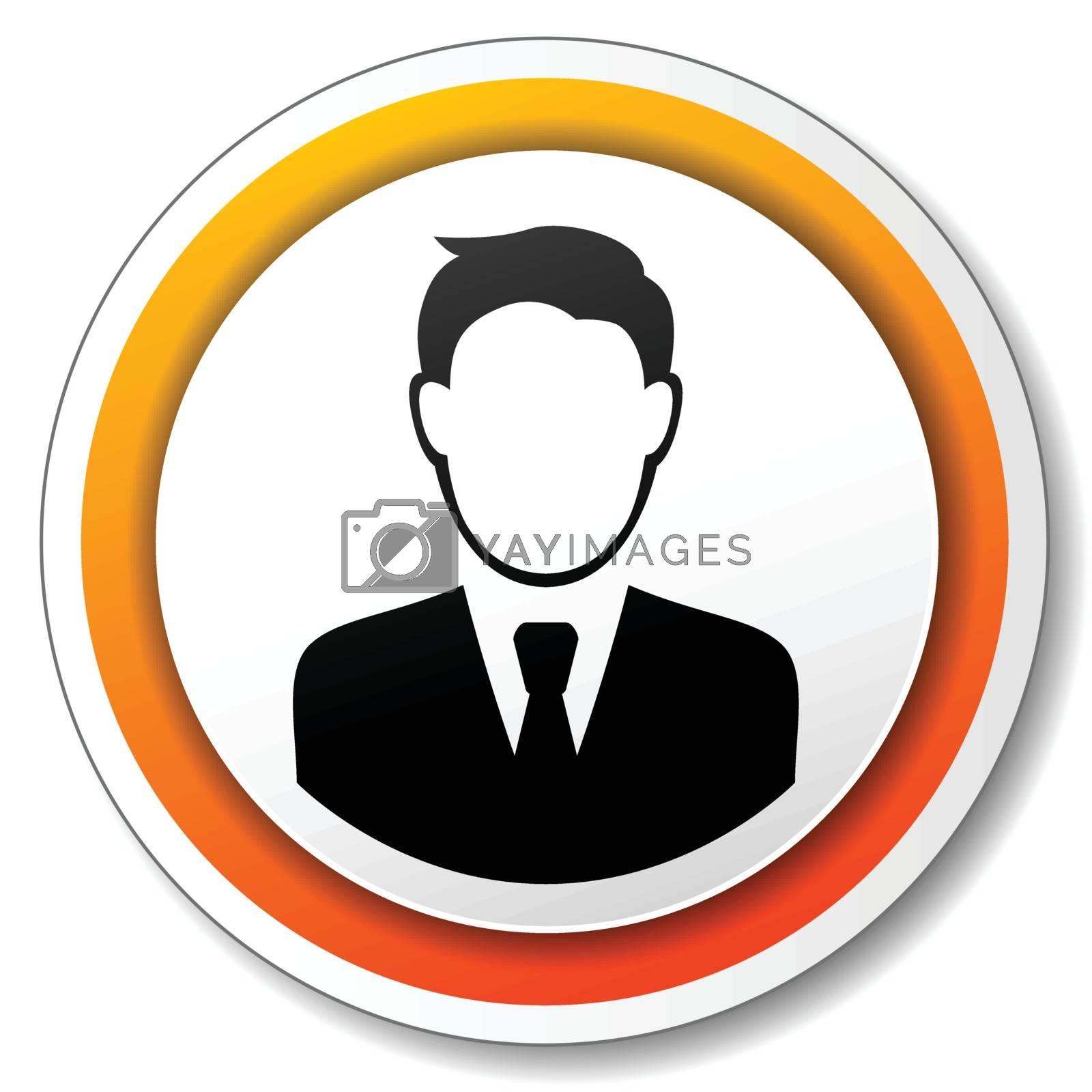 illustration of orange and white icon for businessman