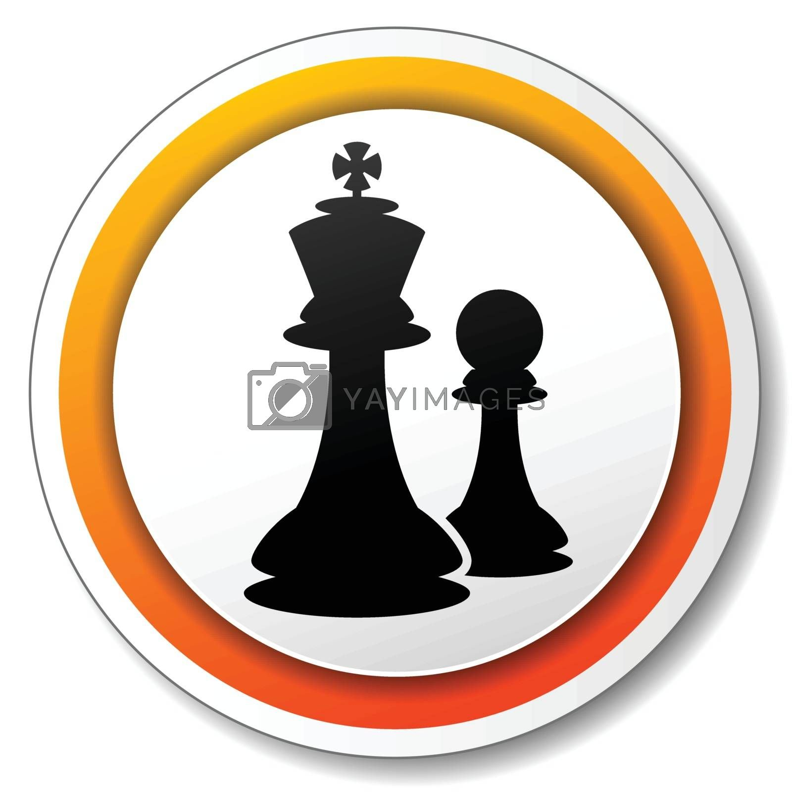 illustration of orange and white icon for chess