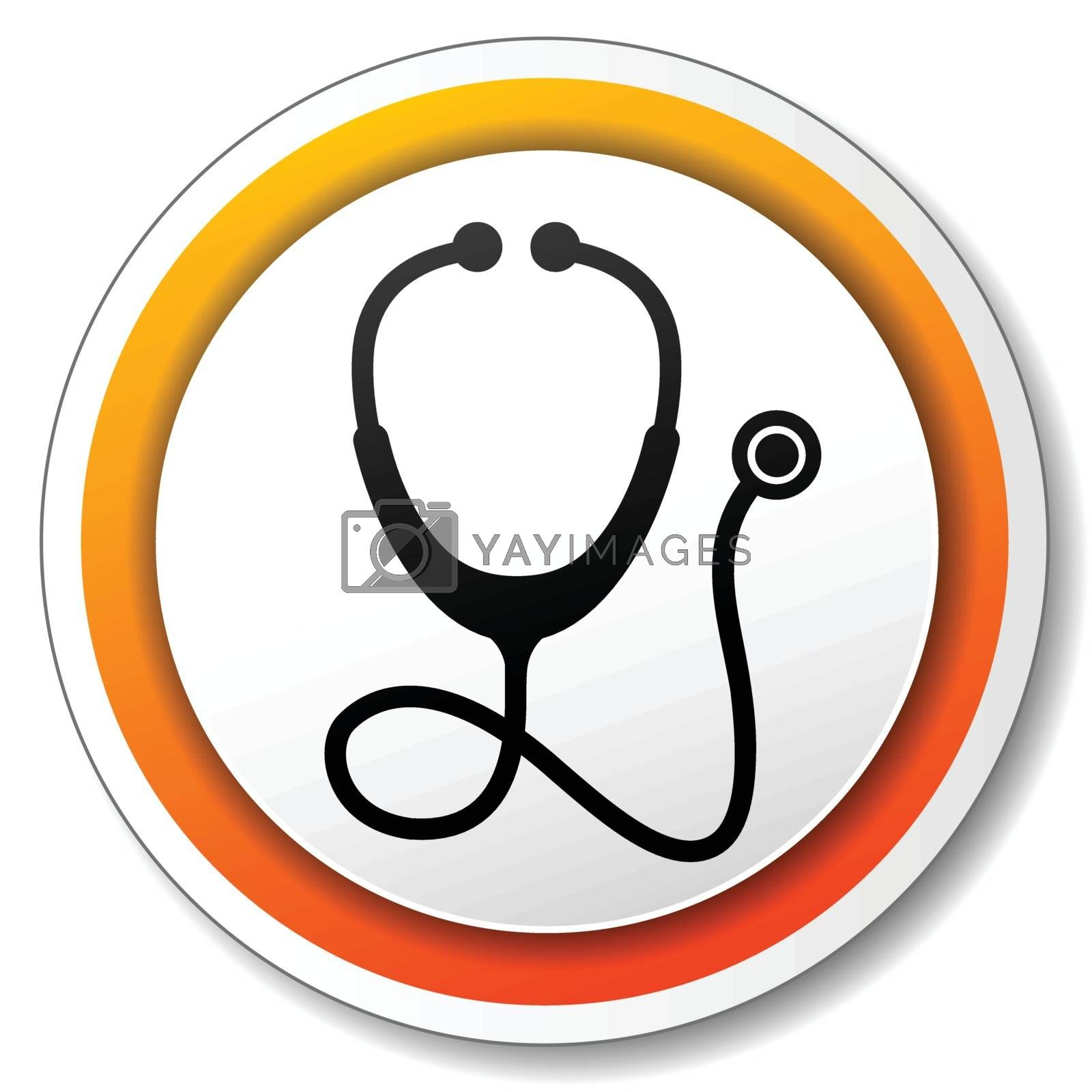 illustration of orange and white icon for stethoscope
