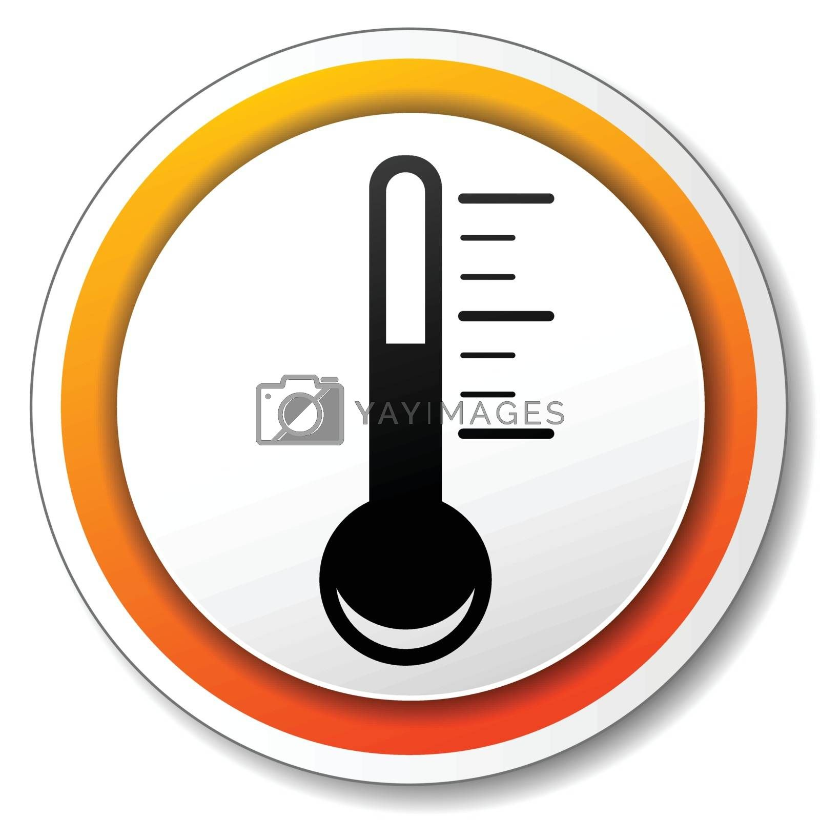 illustration of orange and white icon for thermometer