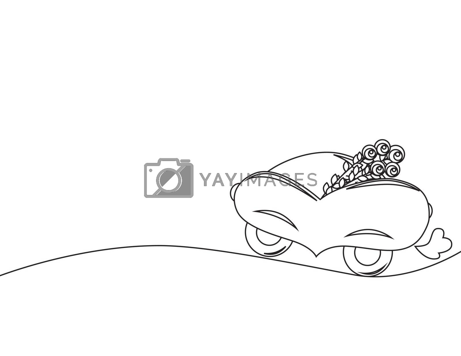 background coloring with car with flowers