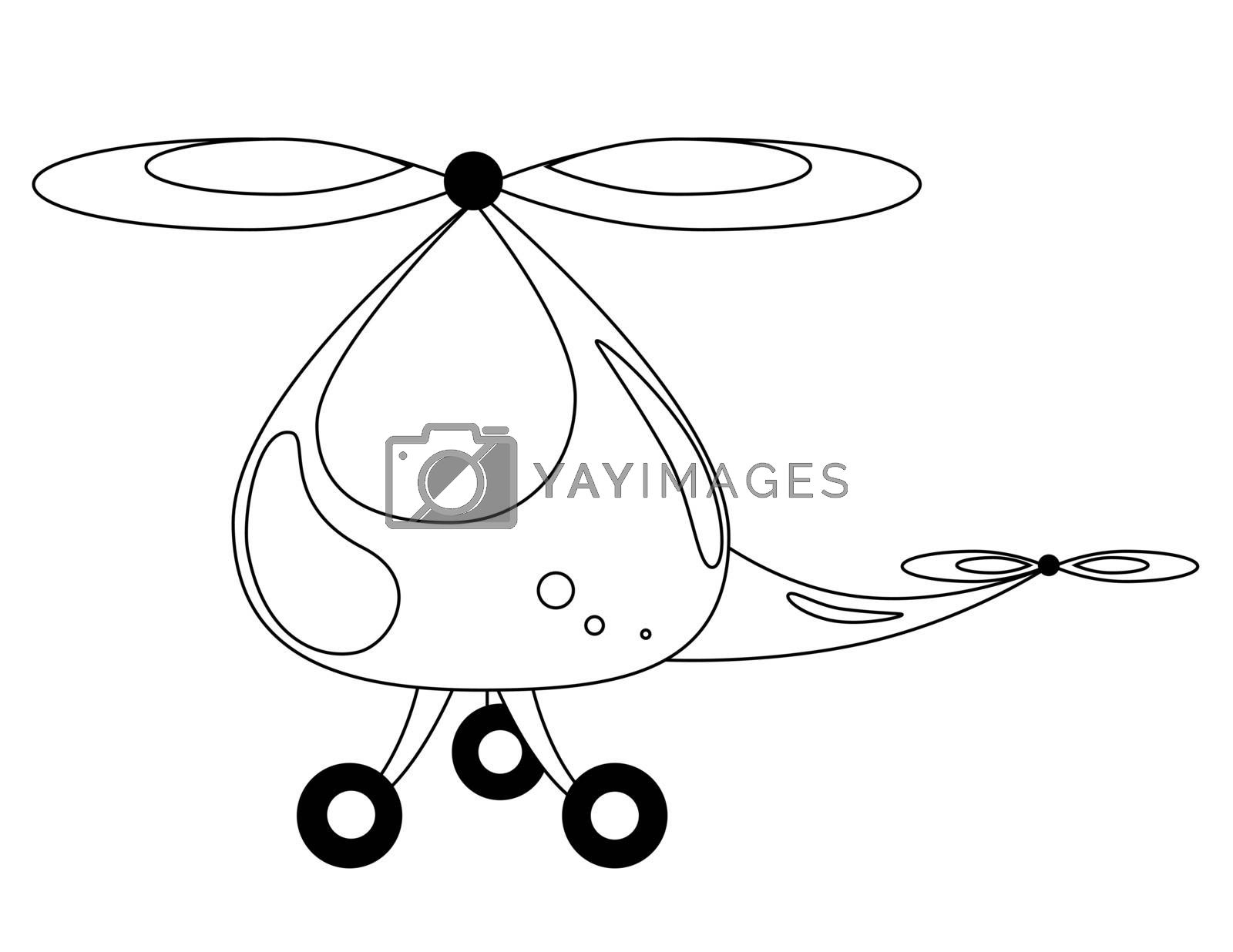 white background coloring  with big child  helicopter