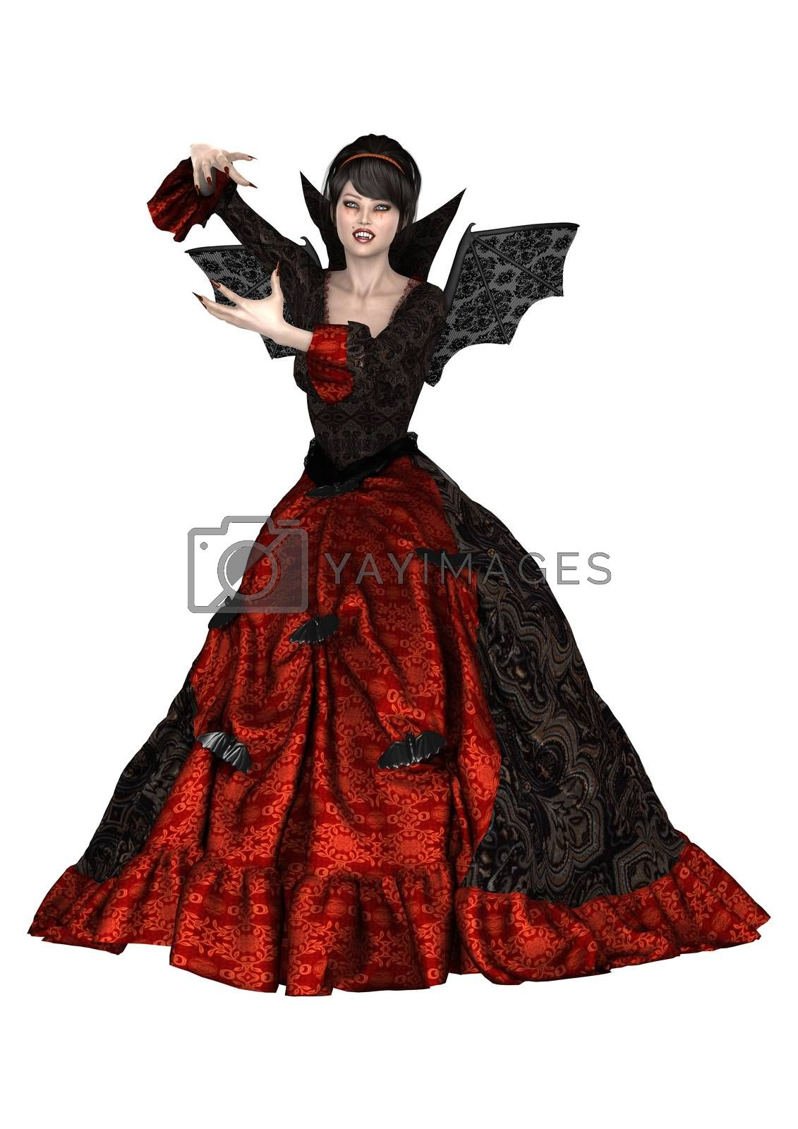 3D digital render of a beautiful witch isolated on white background