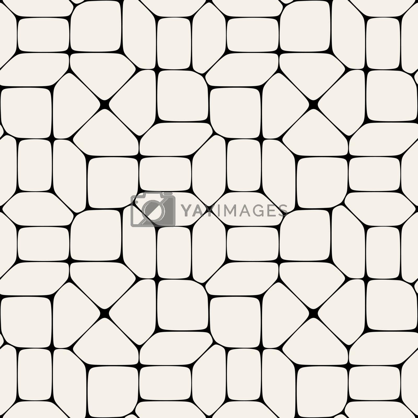 Vector Seamless Black And White Geometric Mosaic Pavement Pattern Background