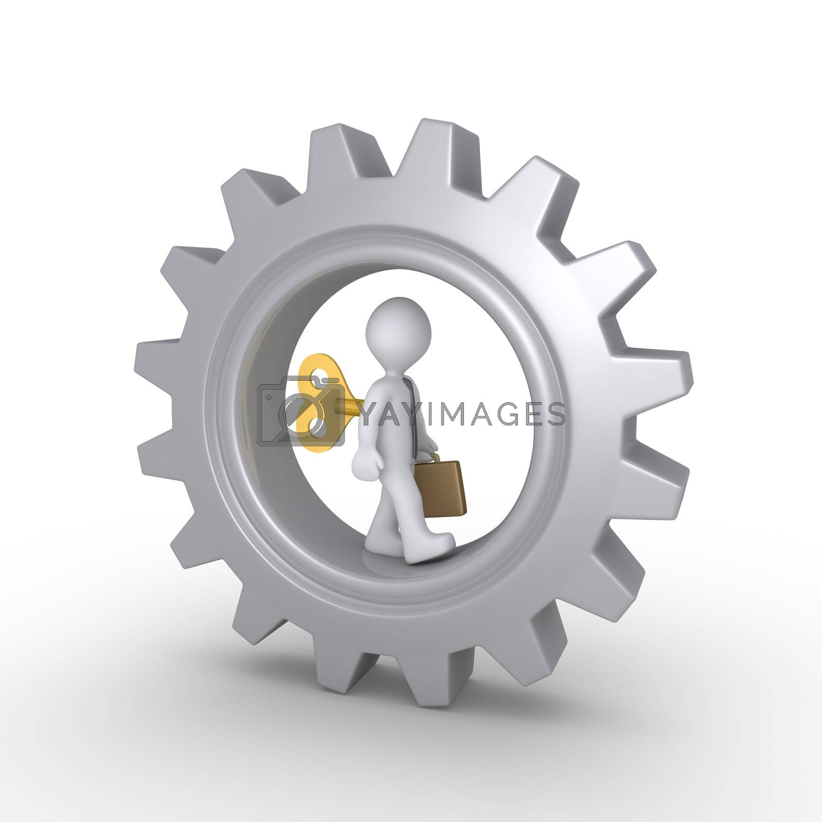 Businessman is wound up and walking inside a cogwheel