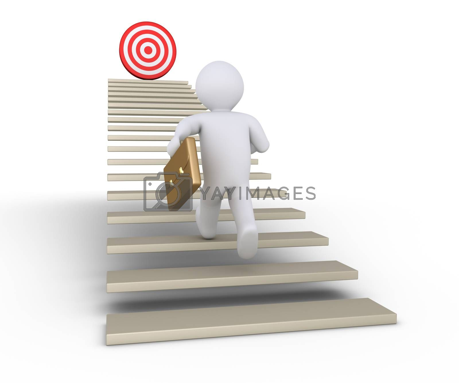 Businessman is running on stairs with a target at the top