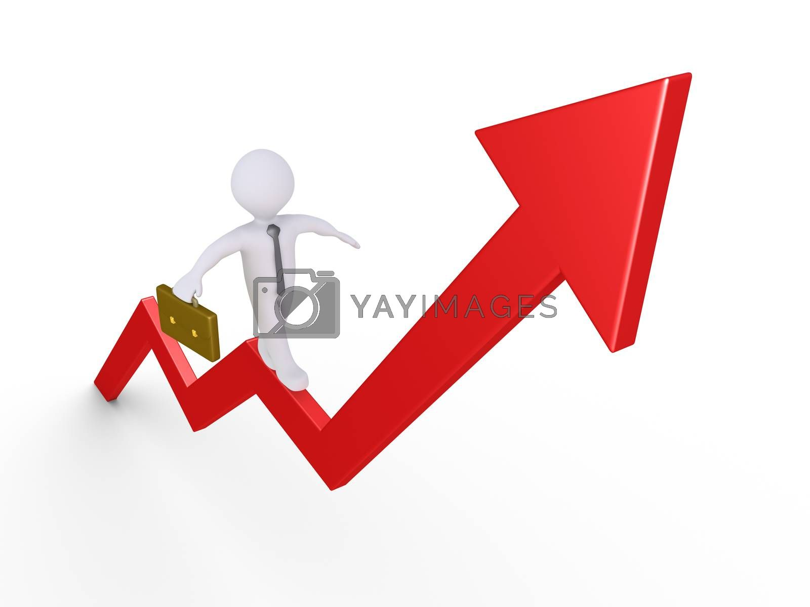 Businessman is trying to balance on an arrow pointing upwards