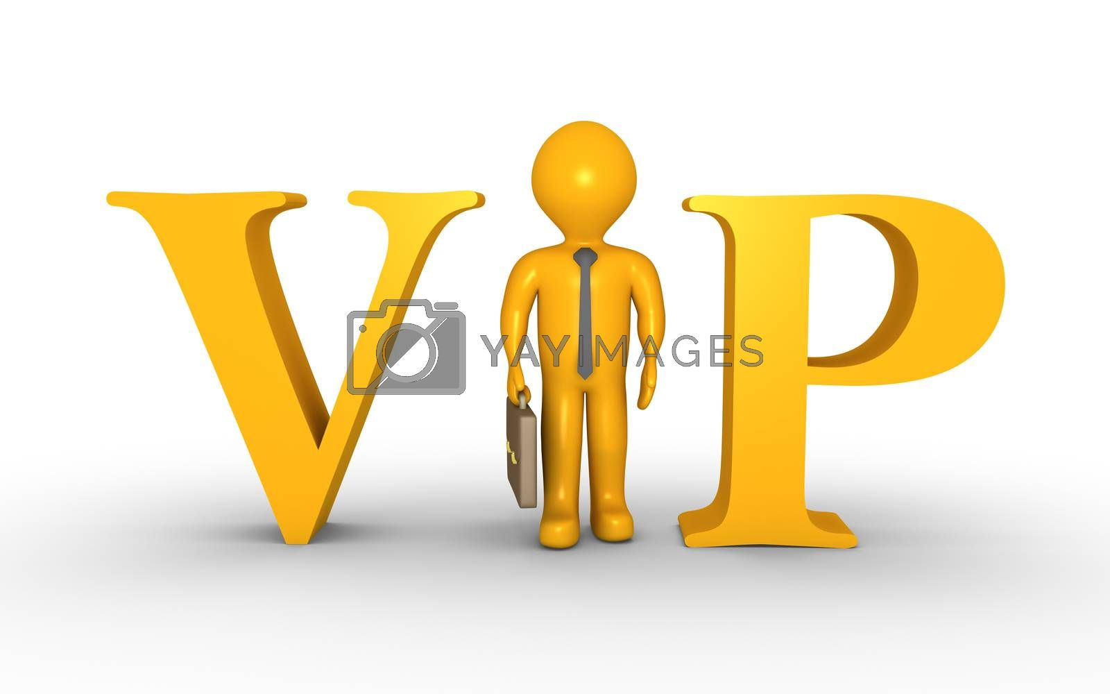 Businessman is standing between VIP letters and is replacing the letter I