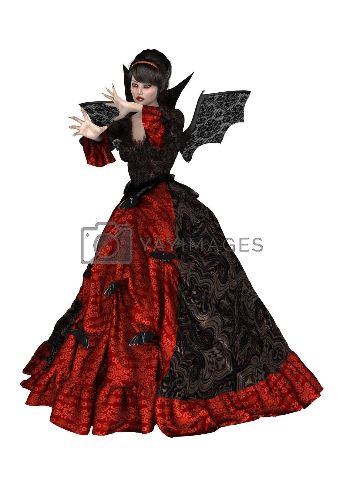 3D digital render of a beautiful lady vamp isolated on white background