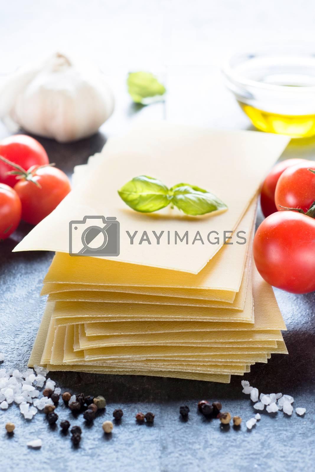 Lasagna ingredients for preparing Italian dish,selective focus