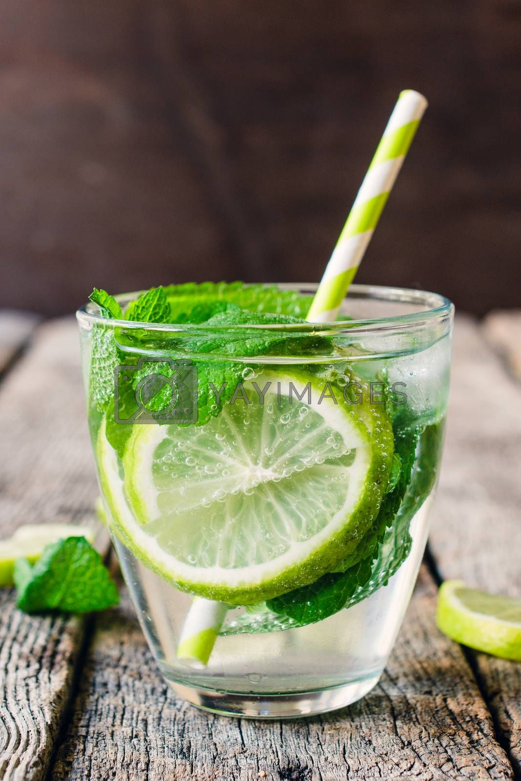 Summer refreshment with cold soda water,lime and herbs. Selective focus on the front part of glass