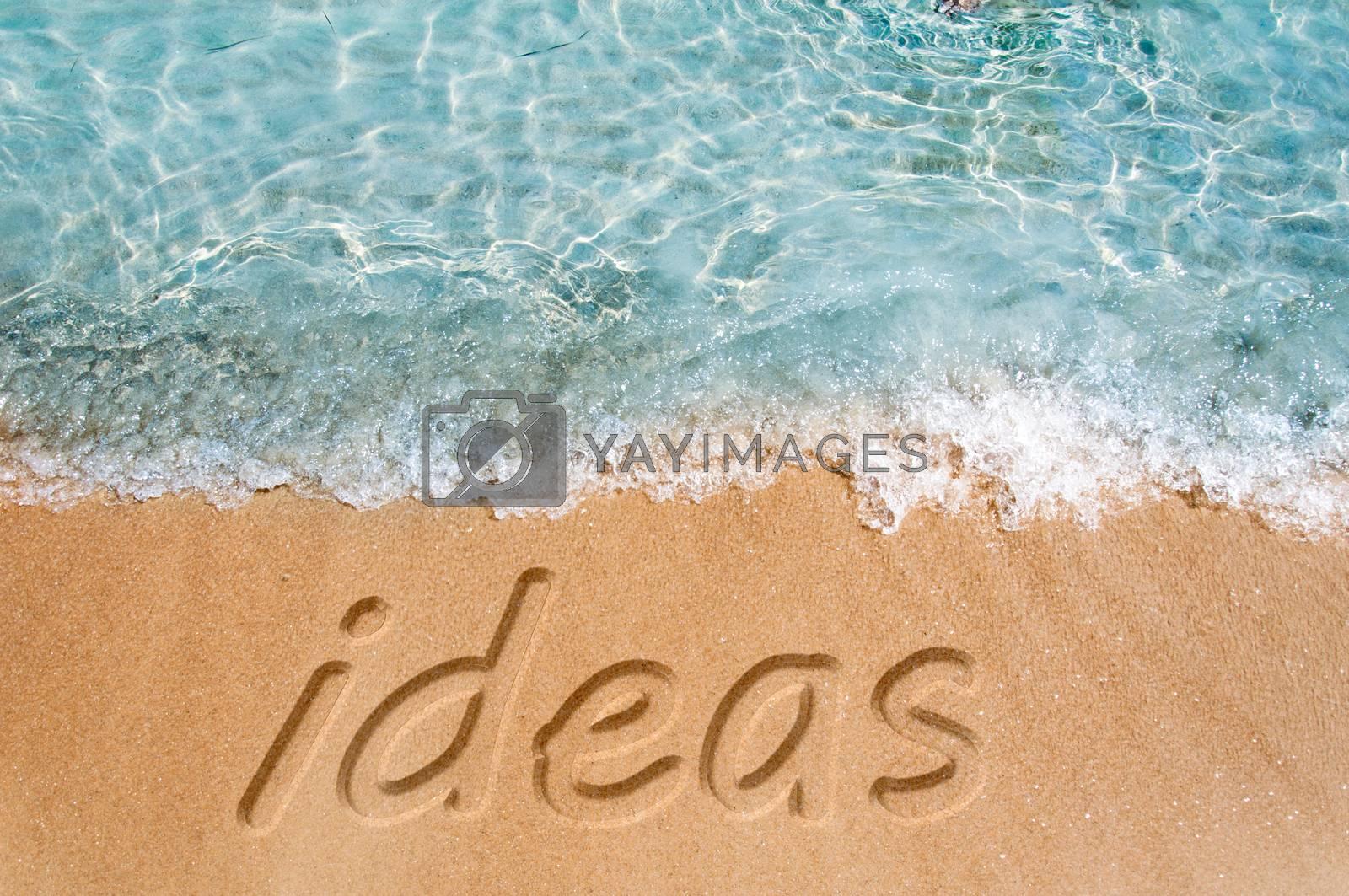 Ideas word sign on the beach sand