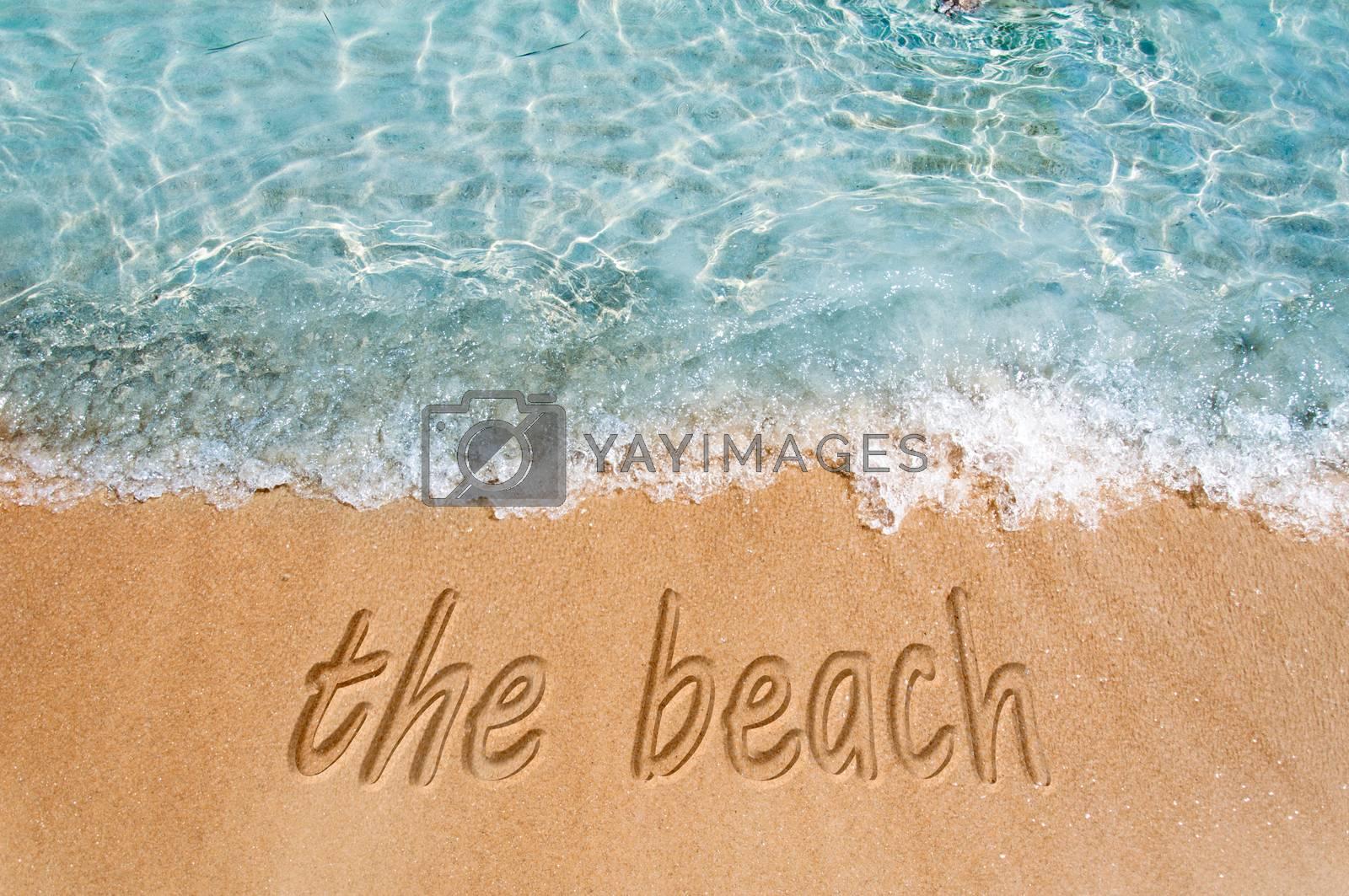 The beach sign on the beach sand